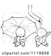 Retro Vintage Black And White Goops Kids With An Umbrella And Drain Spout