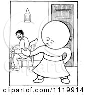 Clipart Of A Retro Vintage Black And White Goops Kid By A Man At A Table Royalty Free Vector Illustration by Prawny Vintage