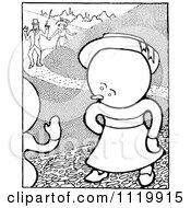 Clipart Of A Retro Vintage Black And White Goops Kid On A Path Royalty Free Vector Illustration by Prawny Vintage