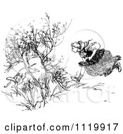 Clipart Of A Retro Vintage Black And White Girl Chasing A Dog With A Boomerang Royalty Free Vector Illustration by Prawny Vintage