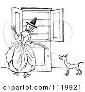 Clipart Of A Retro Vintage Black And White Old Mother Hubbard And Dog Royalty Free Vector Illustration by Prawny Vintage