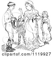 Clipart Of A Retro Vintage Black And White Mother Taking A Coin From Her Husband In Front Of Their Children Royalty Free Vector Illustration