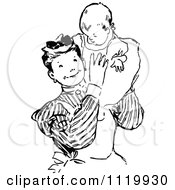 Clipart Of A Retro Vintage Black And White Nanny Holding A Baby Royalty Free Vector Illustration
