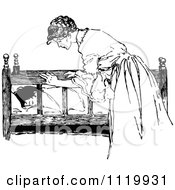 Clipart Of A Retro Vintage Black And White Nurturing Mother Checking On Her Sleeping Child Royalty Free Vector Illustration