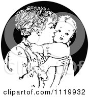 Clipart Of A Retro Vintage Black And White Nurturing Mother Kissing Her Baby Royalty Free Vector Illustration