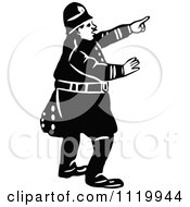 Clipart Of A Retro Vintage Black And White Constable 7 Royalty Free Vector Illustration
