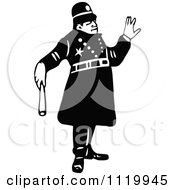Clipart Of A Retro Vintage Black And White Constable 8 Royalty Free Vector Illustration