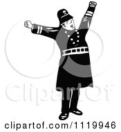 Clipart Of A Retro Vintage Black And White Constable 9 Royalty Free Vector Illustration