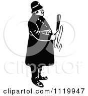 Clipart Of A Retro Vintage Black And White Constable 10 Royalty Free Vector Illustration