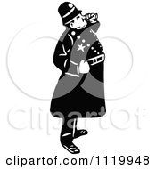 Clipart Of A Retro Vintage Black And White Constable 1 Royalty Free Vector Illustration