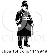 Clipart Of A Retro Vintage Black And White Constable 2 Royalty Free Vector Illustration