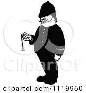 Clipart Of A Retro Vintage Black And White Police Man Holding A Pocket Watch Royalty Free Vector Illustration