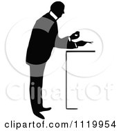 Clipart Of A Retro Vintage Black And White Pharmacist 7 Royalty Free Vector Illustration