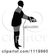 Clipart Of A Retro Vintage Black And White Pharmacist 1 Royalty Free Vector Illustration