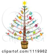 Cartoon Of A Potted Christmas Tree With Colorful Ornaments Royalty Free Vector Clipart