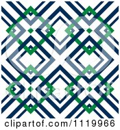 Clipart Of A Seamless Blue And Green Diamond Pattern Background Royalty Free Vector Illustration