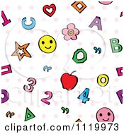 Clipart Of A Seamless Numbers Letters And Stars Education Pattern Background Royalty Free Vector Illustration