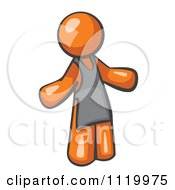 Cartoon Of An Orange Man Wearing An Apron Royalty Free Vector Clipart
