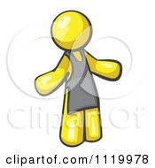 Cartoon Of A Yellow Man Wearing An Apron Royalty Free Vector Clipart