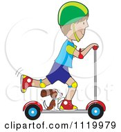 Cartoon Of A Happy Boy Riding A Scooter With His Dog By His Feet Royalty Free Vector Clipart