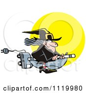 Cartoon Of A Halloween Witch Flying On A Vaccuum Over A Full Moon Royalty Free Vector Clipart