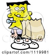 Cartoon Of A Boy Trick Or Treating In A Frankenstein Halloween Costume Royalty Free Vector Clipart