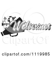 Clipart Of A Black And White Wolverines Cheerleader Design Royalty Free Vector Illustration by Johnny Sajem