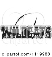Clipart Of A Black And White American Football And Wildcats Team Text Royalty Free Vector Illustration by Johnny Sajem