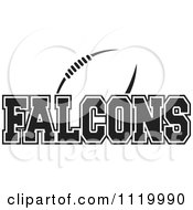 Clipart Of A Black And White American Football And Falcons Team Text Royalty Free Vector Illustration by Johnny Sajem