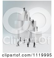 Clipart Of 3d Tiny Business Peopel Climbing Ladders On Cubes 2 Royalty Free CGI Illustration