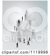 Clipart Of 3d Tiny Business Peopel Climbing Ladders On Cubes 1 Royalty Free CGI Illustration