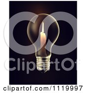 Clipart Of A 3d Candle Burning In A Light Bulb On Black Royalty Free CGI Illustration