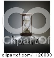 Clipart Of 3d Tiny People Standing In The Shadow Of An Hourglass Royalty Free CGI Illustration