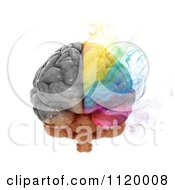 Clipart Of A 3d Colorful Smoking Human Brain 1 Royalty Free CGI Illustration
