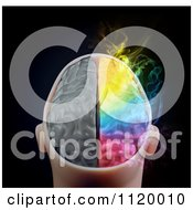 Clipart Of A 3d Colorful Smoking Human Brain 2 Royalty Free CGI Illustration
