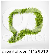 Clipart Of A 3d Green Leafy Speech Balloon 1 Royalty Free CGI Illustration