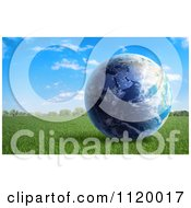 Clipart Of A 3d Earth In A Grassy Field Royalty Free CGI Illustration