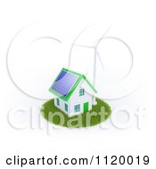 Clipart Of A 3d Eco Friendly Home With Sustainable Energy Sources Royalty Free CGI Illustration by Mopic