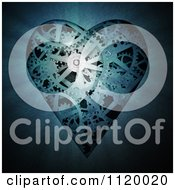 Clipart Of A 3d Gear Cog Heart In Blue Tones Royalty Free CGI Illustration