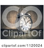 Clipart Of A 3d Vintage Alarm Clock In A Grungy Room Royalty Free CGI Illustration