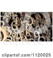 Clipart Of 3d Floating Bronze Numbers Royalty Free CGI Illustration