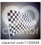 Clipart Of A 3d Waving Checkered Flag Royalty Free CGI Illustration
