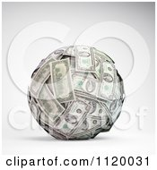Clipart Of A 3d Ball Made Of One Hundred Dollar Bills Royalty Free CGI Illustration
