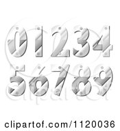 Clipart Of Silver Metal Numbers With Screws Royalty Free Vector Illustration