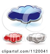 Clipart Of Reflective Blue Red And Gray Clouds With Shadows Royalty Free Vector Illustration