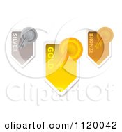 Clipart Of Gold Silver And Bronze Medals And Arrow Ribbons Royalty Free Vector Illustration