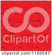 Clipart Of A Seamless Red Heart And Cut Path Background Royalty Free Vector Illustration by michaeltravers
