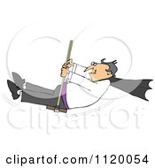 Cartoon Of A Halloween Vampire Swinging Royalty Free Vector Clipart
