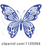 Clipart Of A Blue Butterfly 1 Royalty Free Vector Illustration