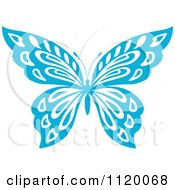 Clipart Of A Blue Butterfly 2 Royalty Free Vector Illustration